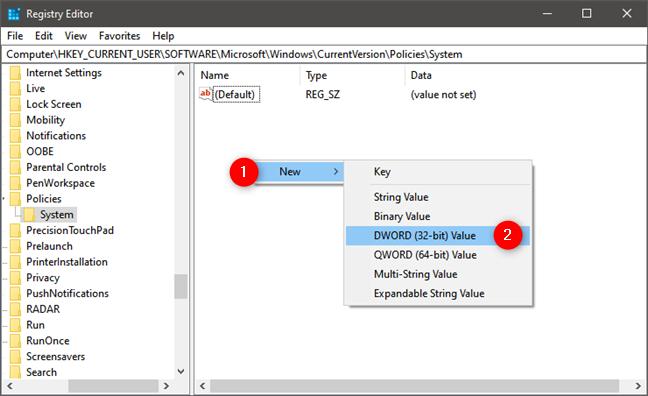 Creating the DisableTaskMgr item in Windows Registry