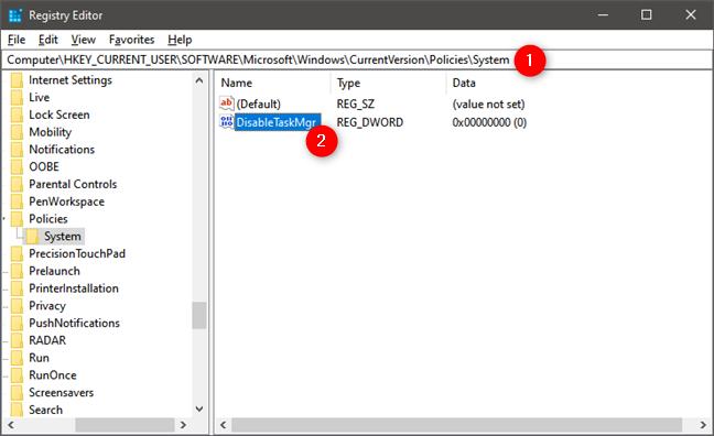 El elemento DisableTaskMgr del Registro de Windows