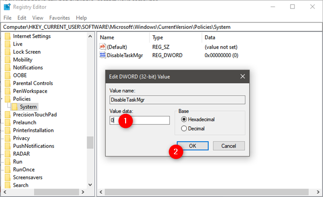 Habilite el Administrador de tareas desde el Registro de Windows