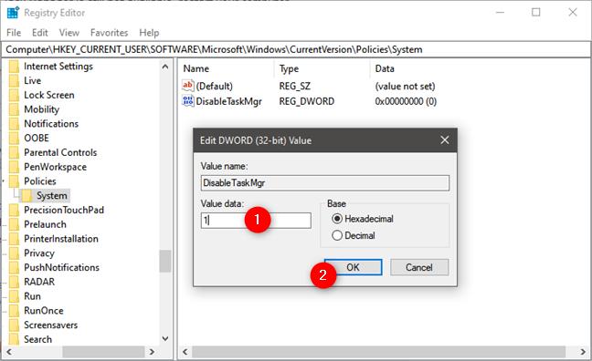Deshabilitar el Administrador de tareas del Registro de Windows