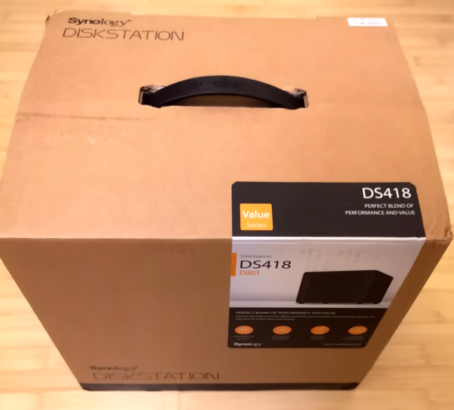 The packaging for Synology DiskStation DS418