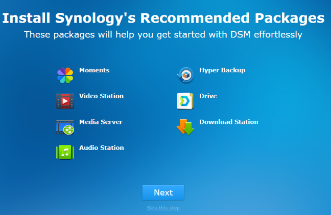 Installing Synology's recommended packages in DSM