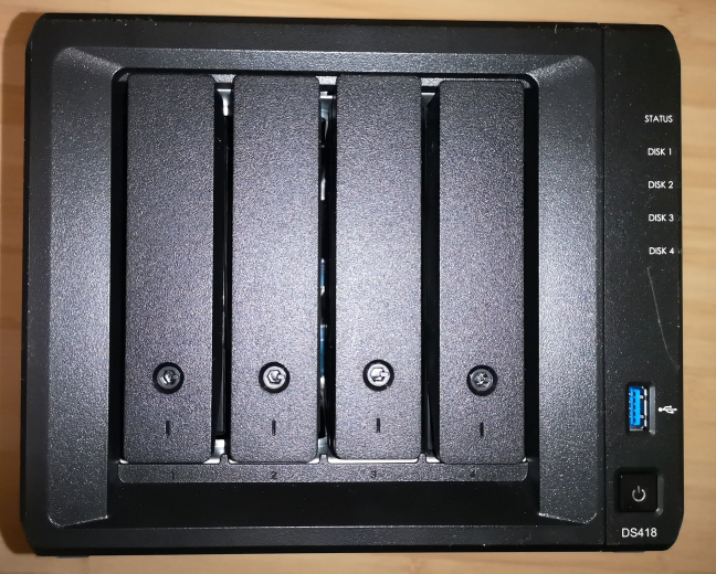 The front of the Synology DiskStation DS418