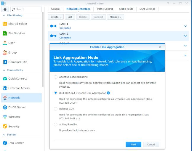 Enabling Link Aggregation on the Synology DiskStation DS418