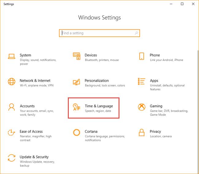 Windows 10, display language