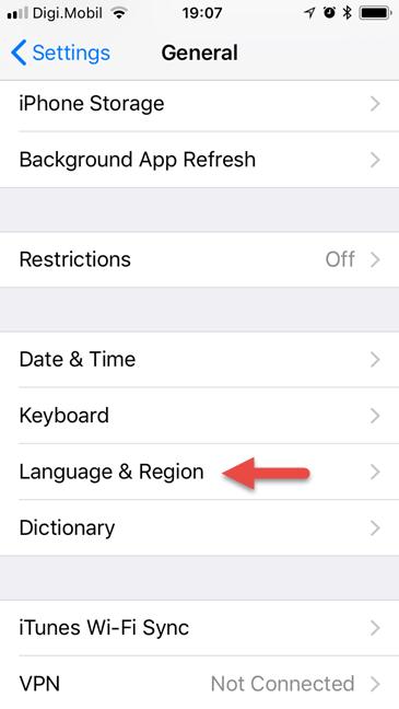 iPhone, iPad, display language