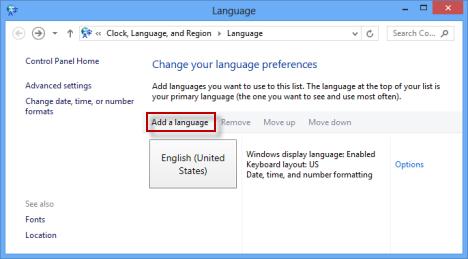 Windows 8 - Display Language