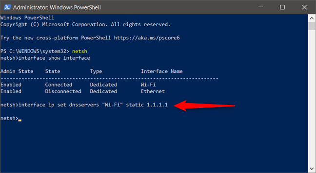 Ejecución del comando interface ip set dnsservers para configurar un nuevo servidor DNS