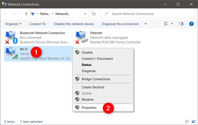 The Properties option from right-click menu of a network adapter