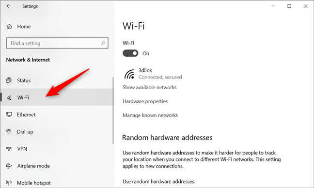 The Wi-Fi network connection