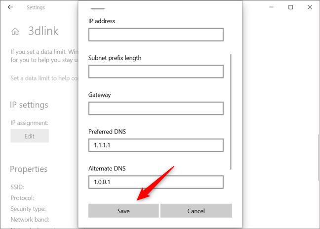 Guardar la nueva configuración para los servidores DNS