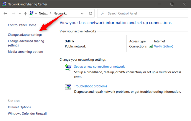 The Change adapter settings link from the Network and Sharing Center