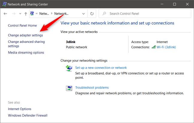El enlace Cambiar la configuración del adaptador desde el Centro de redes y recursos compartidos