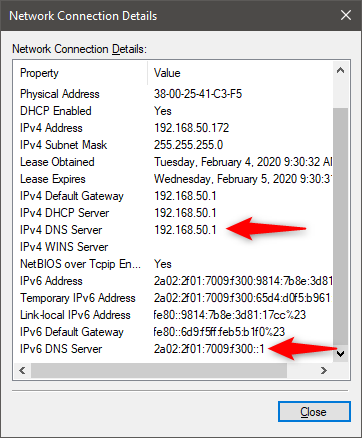The IP addresses of the DNS servers