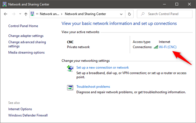 Opening the Status of a network connection from the Network and Sharing Center