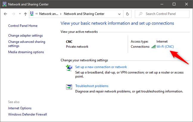 Abrir el estado de una conexión de red desde el Centro de redes y recursos compartidos