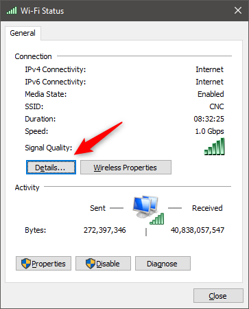 The Details button from the Status of a network connection