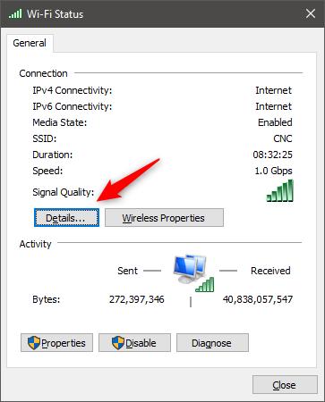 El botón Detalles del estado de una conexión de red