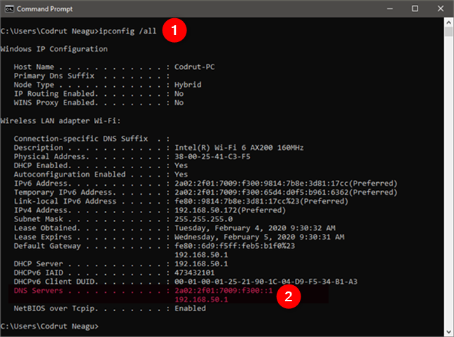 Running ipconfig /all to find the DNS servers in CMD