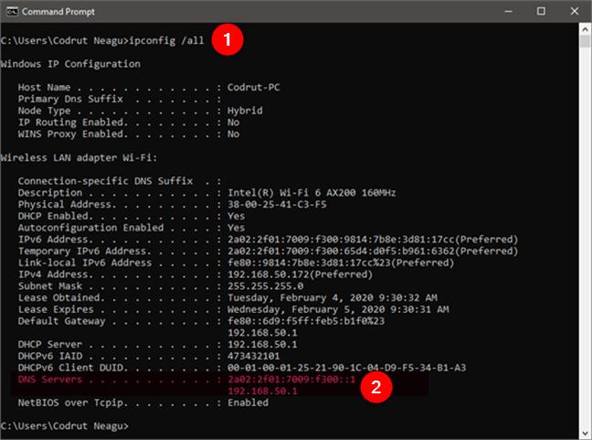 Ejecutando ipconfig / all para encontrar los servidores DNS en CMD