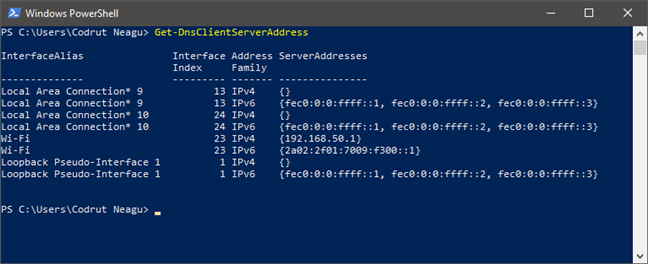 Running Get-DnsClientServerAddress to find the DNS servers in PowerShell