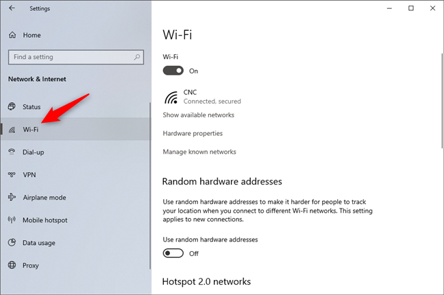 The Wi-Fi entry from Settings' Network & Internet