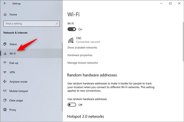 La entrada de Wi-Fi de Configuración 'Red & amp;  Internet