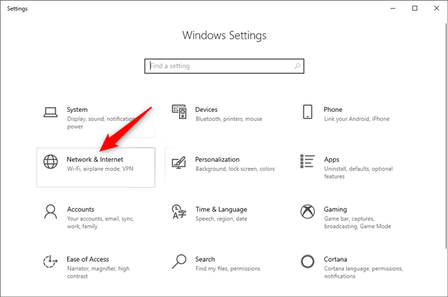 The Network & Internet category form Windows 10 Settings