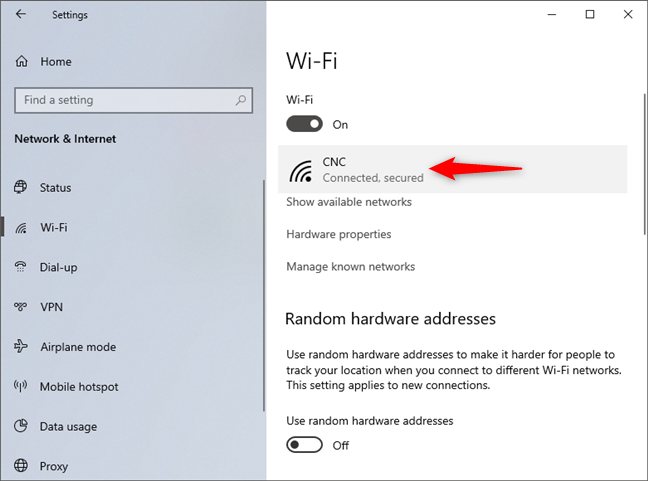 The network to which Windows 10 is connected