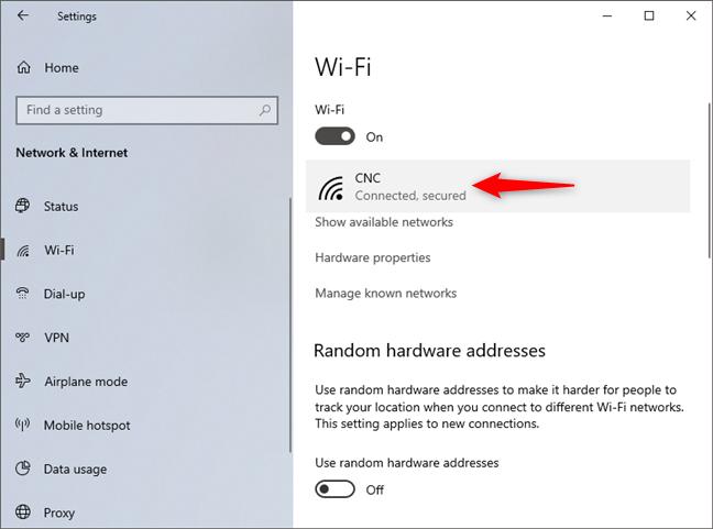 La red a la que está conectado Windows 10
