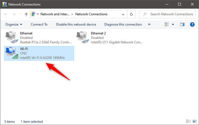 Opening the Status of a network connection