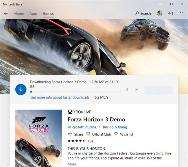 Downloading and installing Forza Horizon from the Microsoft Store