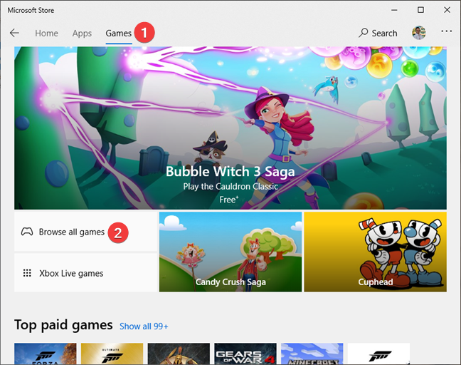 The Games section from the Microsoft Store