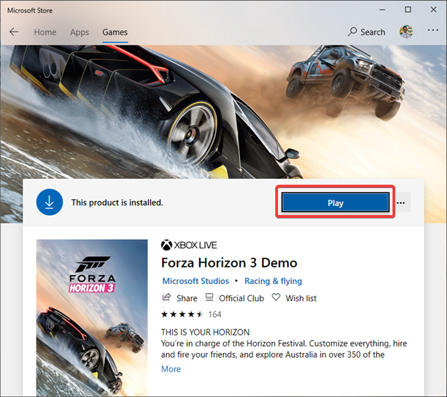 Forza Horizon is installed using the Microsoft Store
