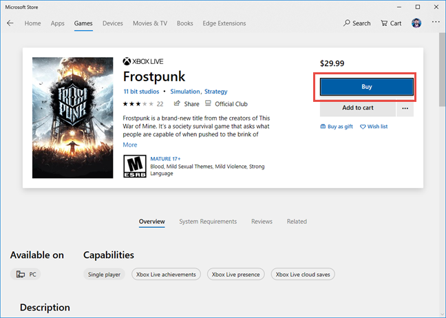 Frostpunk game page in the Microsoft Store