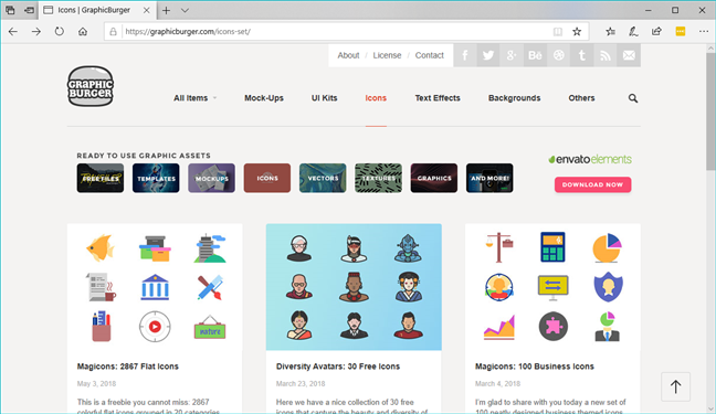The graphicburger.com icons page