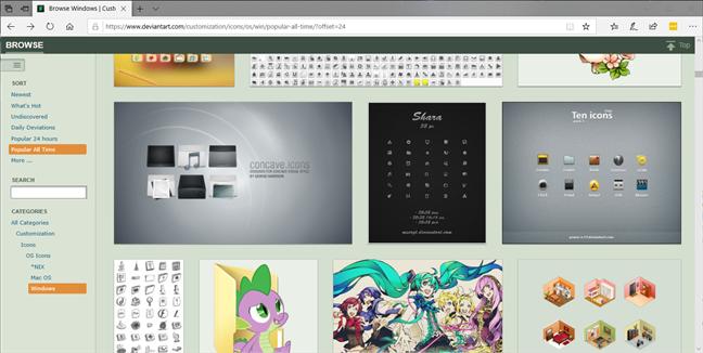 The deviantart.com icons page