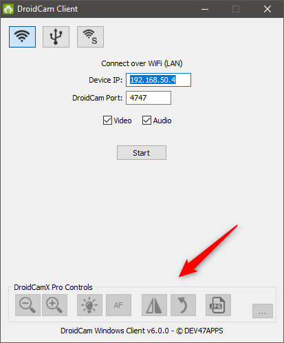 Additional options are available in DroidCamX (paid version)
