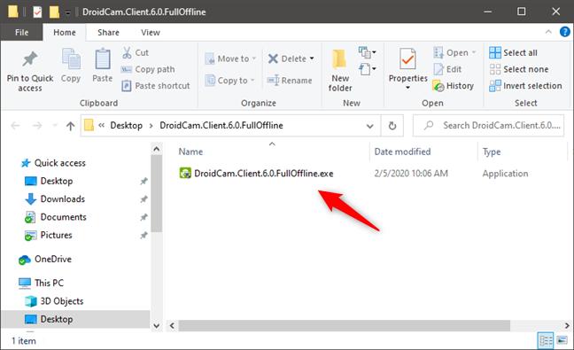 The DroidCam Client for Windows installer