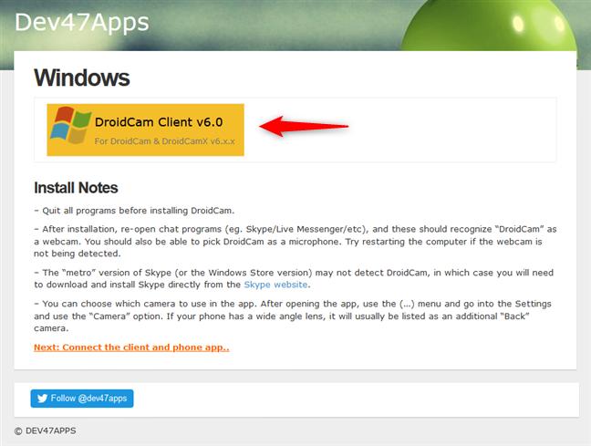 The DroidCam Client download link