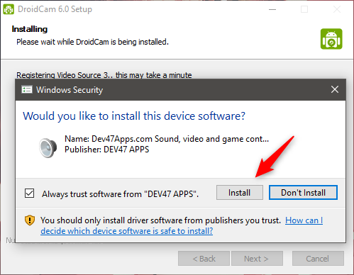 Allowing the drivers from Dev47Apps.com to be installed