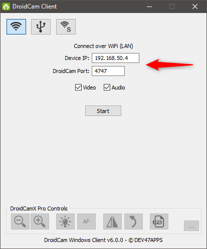 Configuring the IP address, port, video, and audio feeds in the DroidCam client for Windows