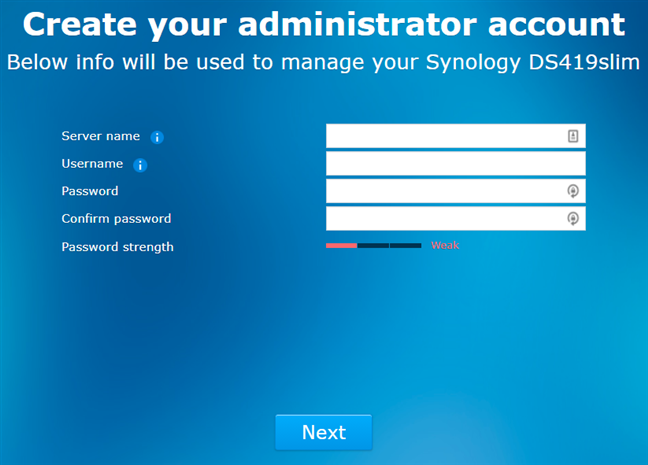 Synology DiskStation DS419slim - setting up the admin account