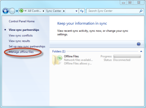 Disable Offline Files and the Sync Center in Windows 7