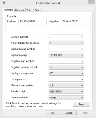 Dates, Times & Currency Settings, Windows 7, Windows 8