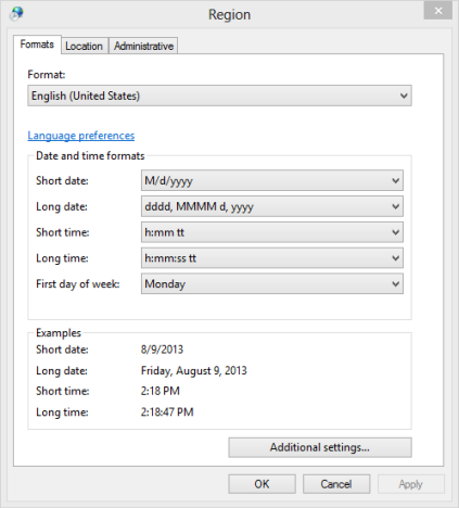 Dates, Times & Currency Settings, Windows 8