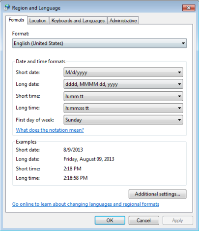Dates, Times & Currency Settings, Windows 7