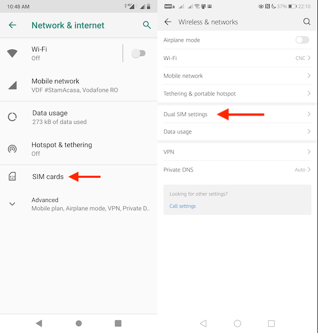 Access SIM cards or Dual SIM settings