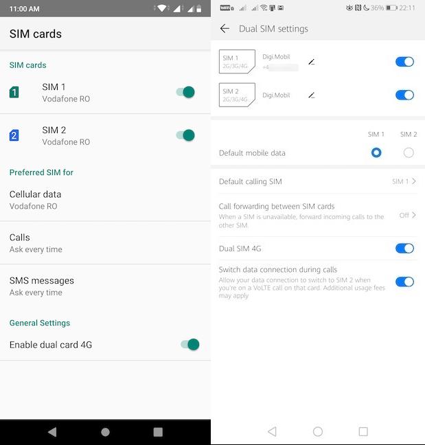 The SIM cards or Dual SIM settings screen
