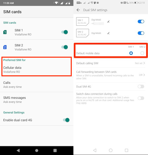 Choose the default SIM for mobile data in Android